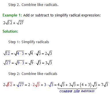 algebra radicals 6